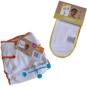 Pack nuit Geffen, comprend une couche classique taille naissance (XS) en coton, un absorbeur en chanvre et un snappi. Ce pack existe en 4 tailles.