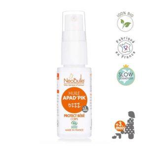 Une huile qui protège et apaise la peau tendre des petits des piqûres d'insectes