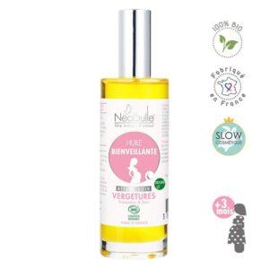 Une peau protégée et nourrie en profondeur grâce à un élixir 100% BIO d'huiles végétales précieuses et d'huiles essentielles sélectionnées pour leur vertus nourrissantes et réparatrices